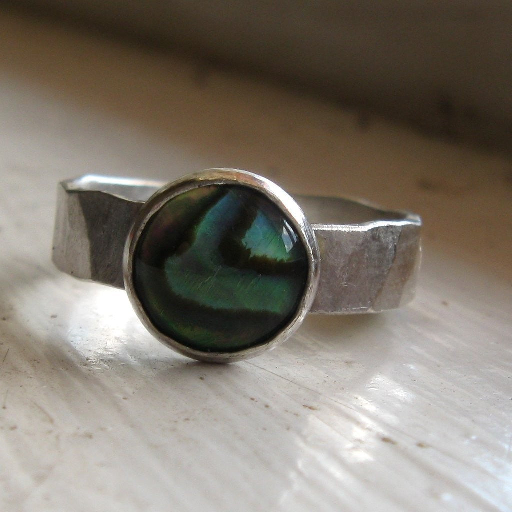 Unique Abalone and Sterling Hammered Band - Recycled Metal and Seashell
