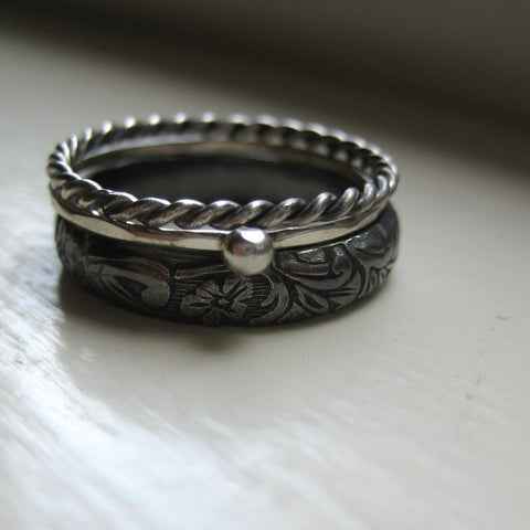 Dark Silver Stacking Rings - recycled metal