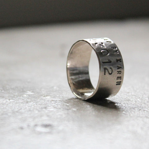 "Sterling Silver Duck Band Wedding Ring - Personalized 3/8"" Wide Band"