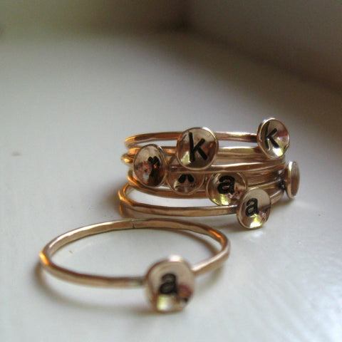 Stackable 14k Gold Fill Initial Ring