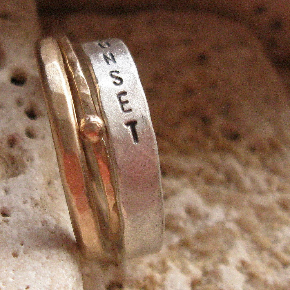 Gold and sterling silver personalized stacking wedding rings