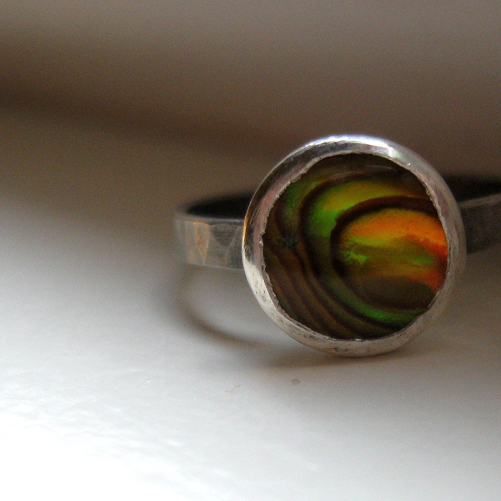 Sterling Abalone Stacking Ring Rustic