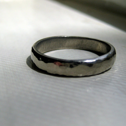 Rustic Hammered 14k White Gold Wedding Ring