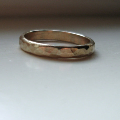 Rustic 14k gold unique wedding ring