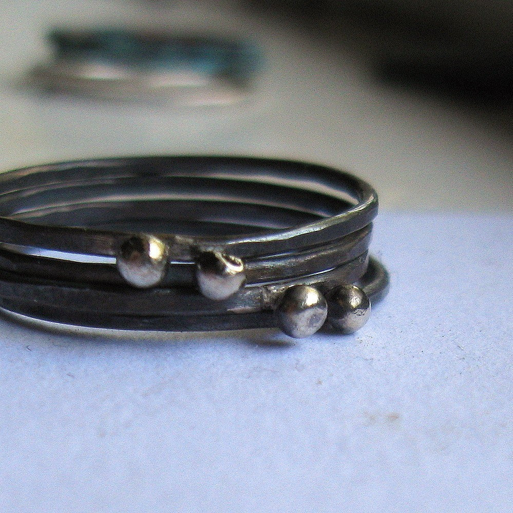 Oxidized sterling silver stacking rings