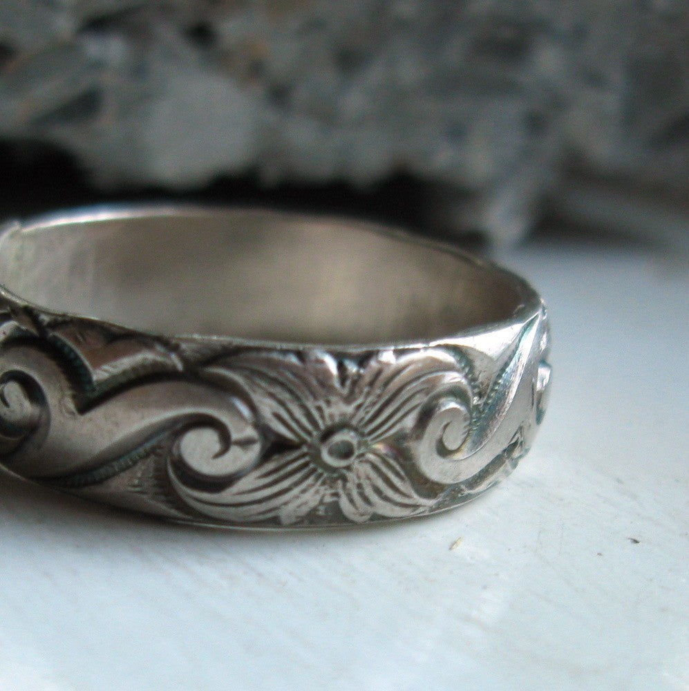 Bold sterling silver pattern band unique ring
