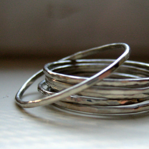 10k White Gold Unique Hammered Stacking Rings