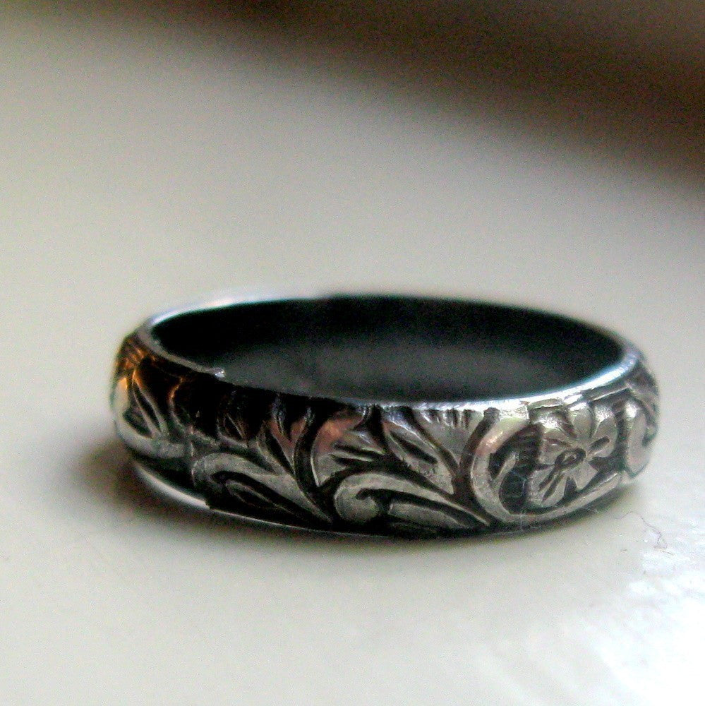 Dark sterling rustic renaissance band ring silver