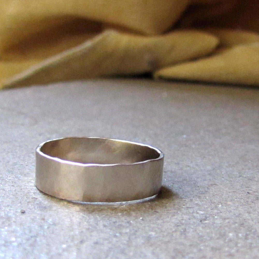 18k White Gold Hammered Brushed Rustic Wedding Band Unique
