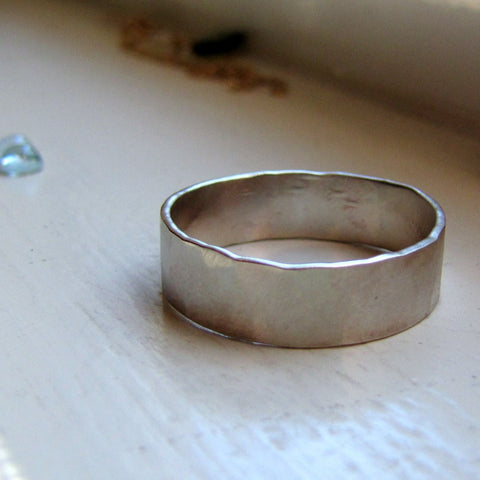 18k White Gold Hammered Brushed Rustic Wedding Band