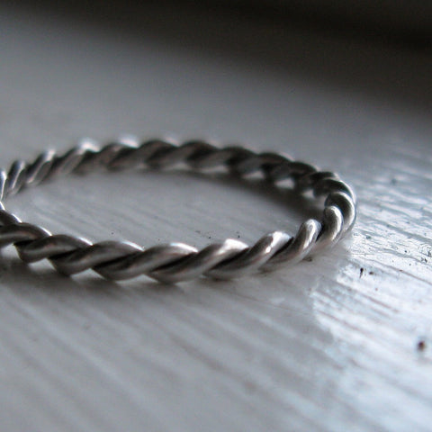 Handmade rustic chunky sterling silver twist stacking ring of silver