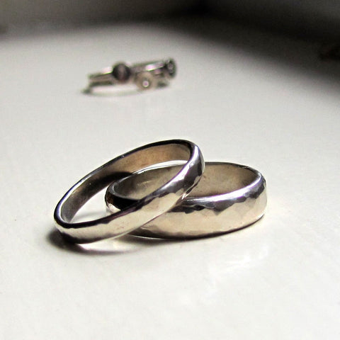 White Gold Stacking Rings Wedding Bands
