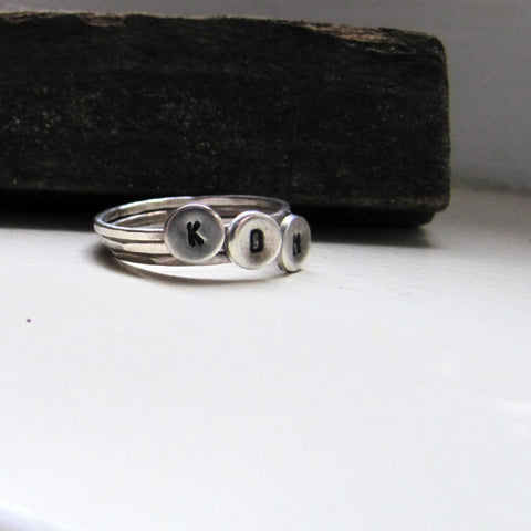 Sterling silver personalized stacker rings three initial rings set