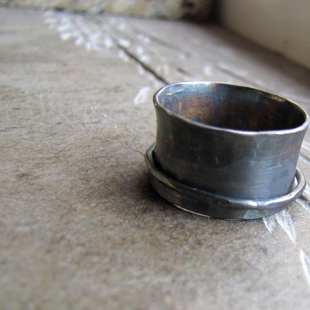 Rustic dark sterling spinner ring