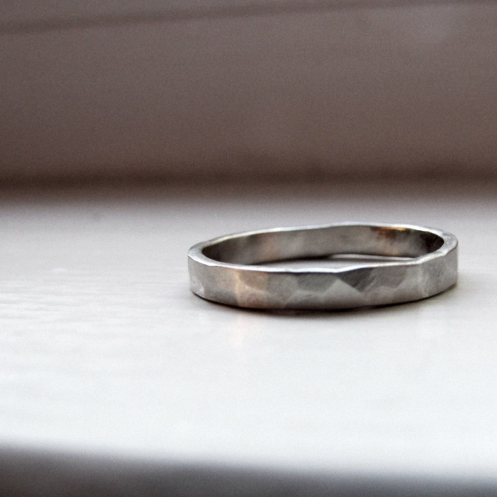 Primitive Hammered White Gold Wedding Ring // Unique Rings