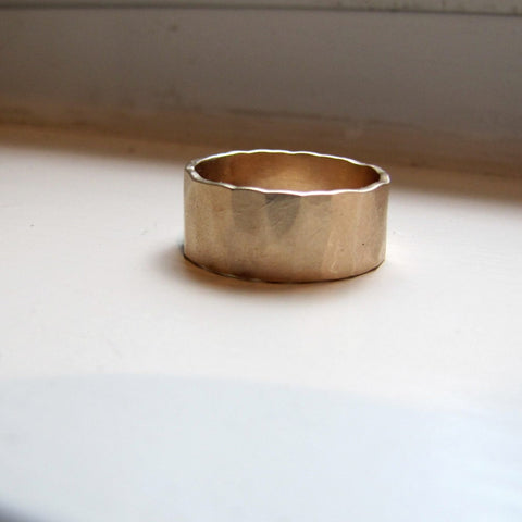 Hammered Gold Wedding Band for Men or Women