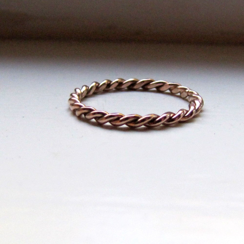 Hand twisted solid gold stacking ring