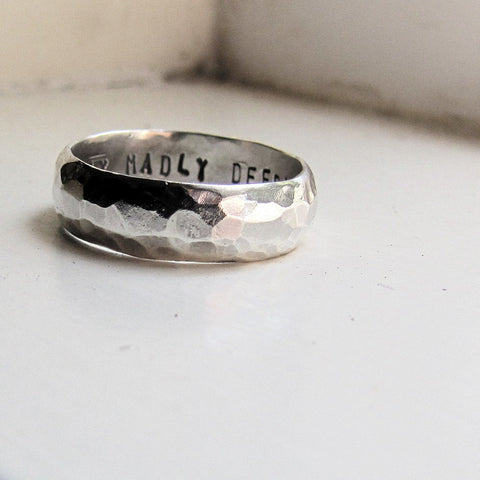 Mans Wedding Band - Hammered Silver
