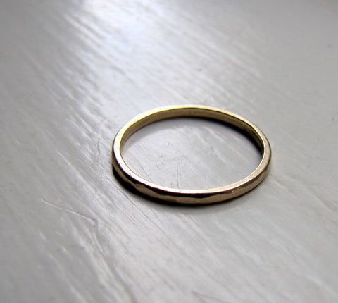Yellow or White Gold Classic Solid Gold Hammered Stacking Ring