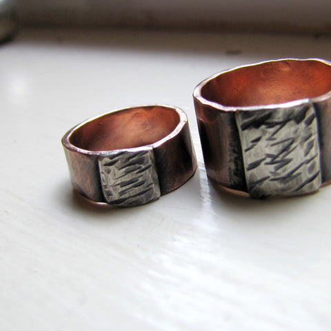 Wedding Band Set - Hammered Copper