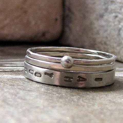 10k White gold three piece personalized unique wedding band set