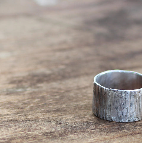 Mens Ring Wood Grain on Sterling Unique Wedding Ring Tree Bark