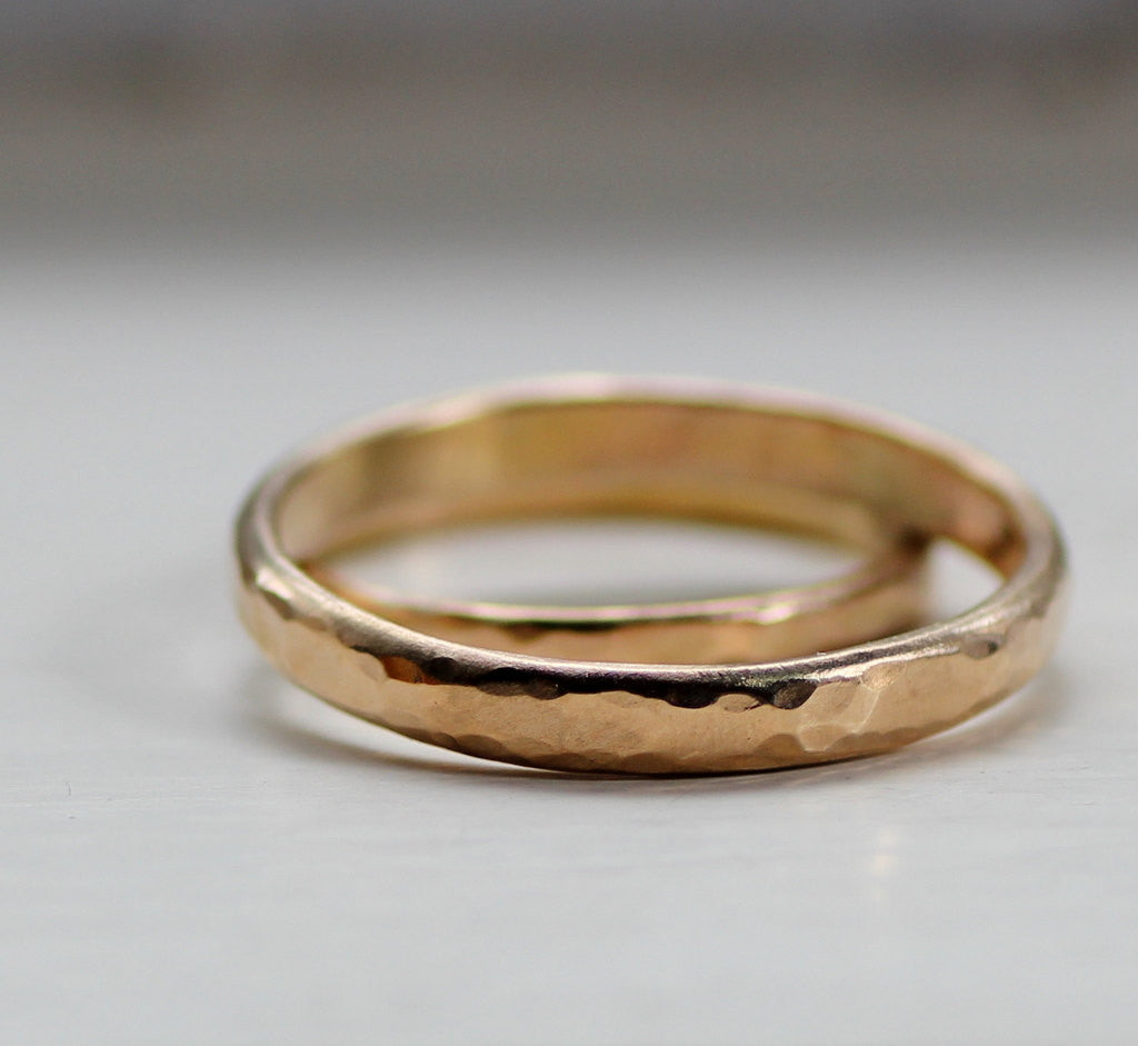 Simple Wedding Band Set Rustic Gold Wedding Bands for men or women