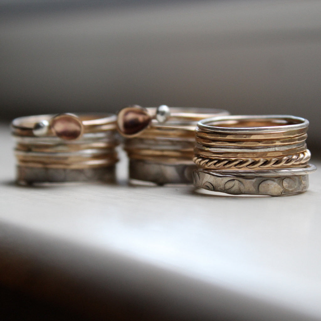 Stacking Rings - Gold and Silver