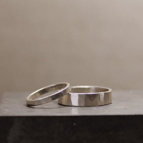 Hammered White Gold Wedding Band Set