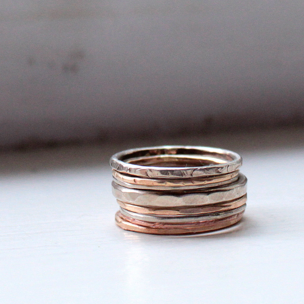 Autumn Wedding Rings: Red, Yellow and White 14k Gold Stacking Rings
