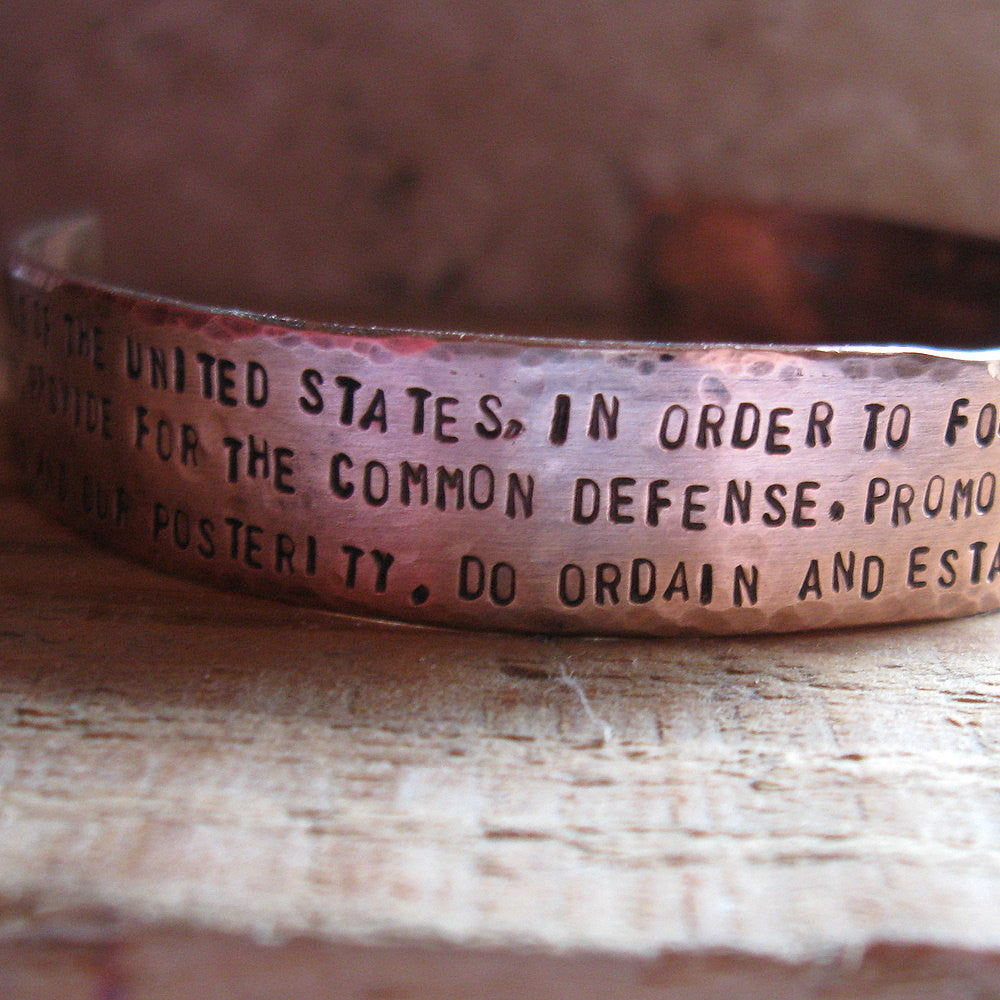 Rustic Hand Forged Copper Constitution Cuff