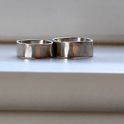 Square White Gold Wedding Band Set