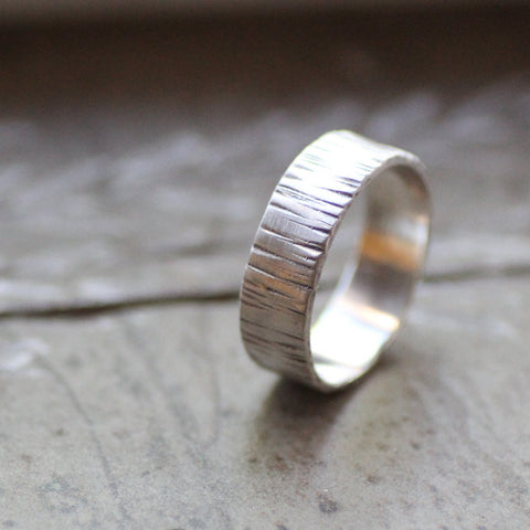Sterling Silver Hammered Tree Bark Ring