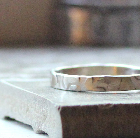 Rustic Wedding Band - 14k White Gold in a Unique Hammered Pattern