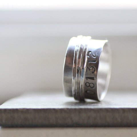 Rustic Duck Band Style Spinner with Personalization - Unique wedding ring for man or woman