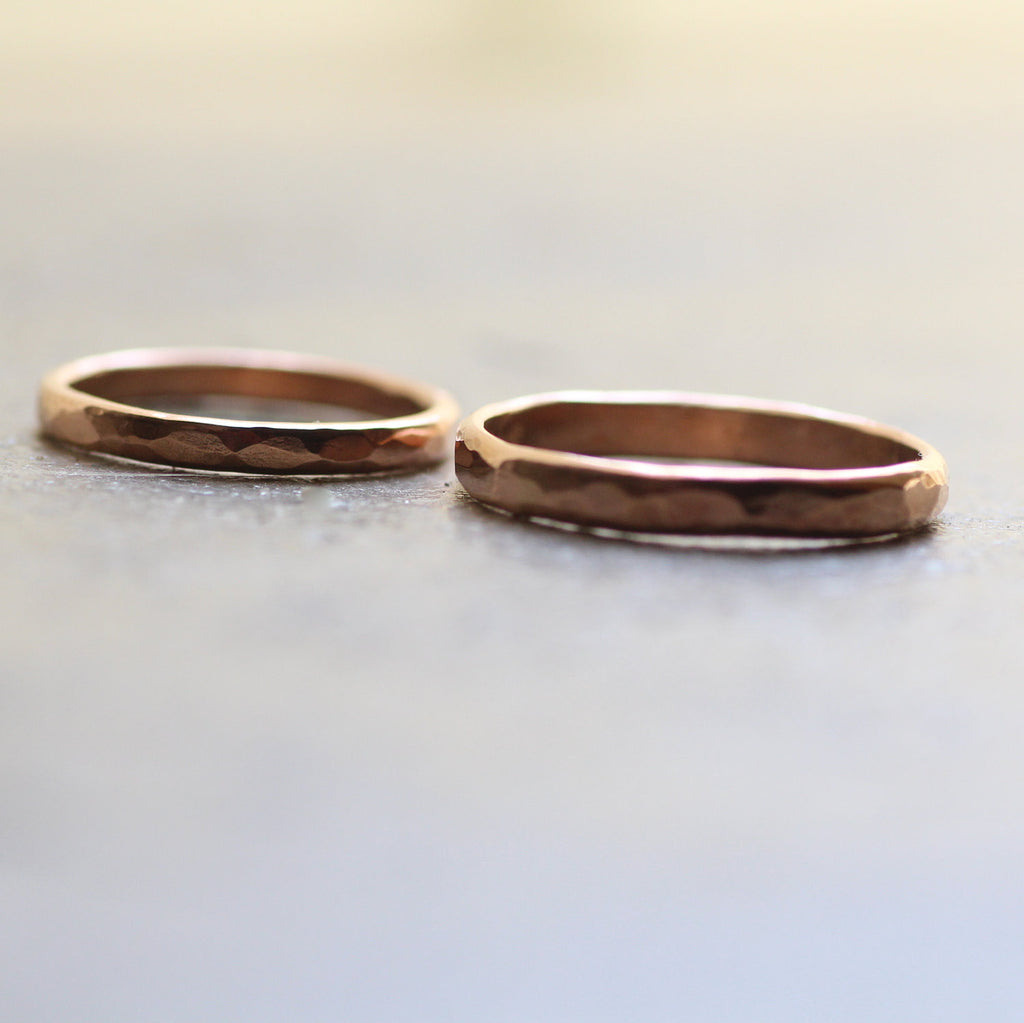 Rustic Wedding Band Set 14k Rose Gold Unique Wedding Rings