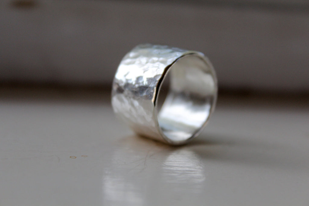 Rustic Wide and Heavy Silver Ring
