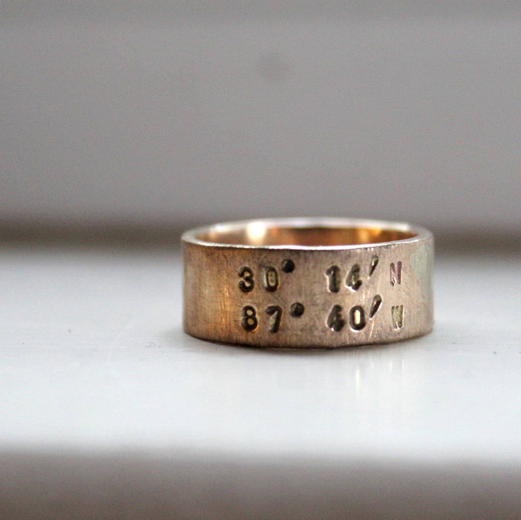 Rustic solid gold latitude longitude ring - duck band style