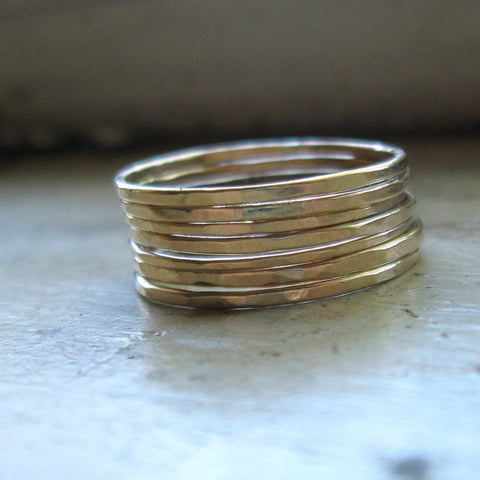 Rustic solid gold stacking rings