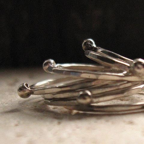 Silver stacking rings with silver nuggets