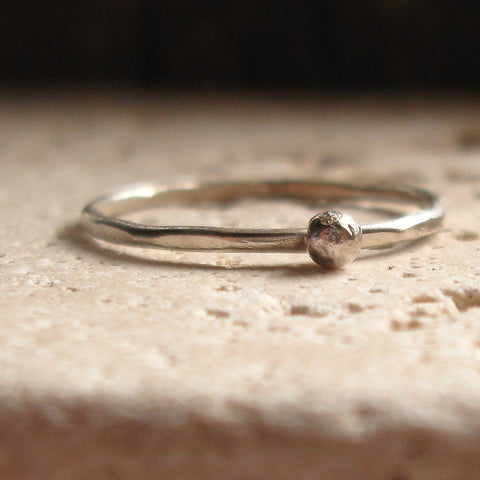 silver stacking ring with nugget