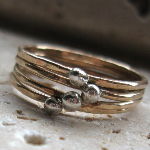 Stacking Rings - Rustic Silver and Gold
