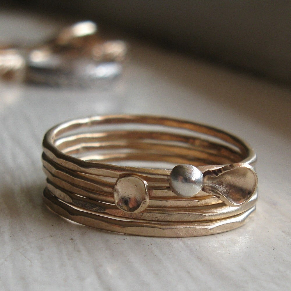 Bud blossom and leaf gold filled stacking rings set