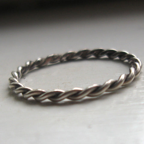 Twisted Sterling Silver Stacking Braid Ring