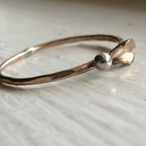 Rustic Gold Bud and Leaf Stacking Ring
