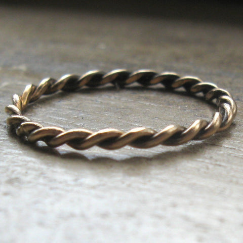 Twisted gold fill stackable ring - braided