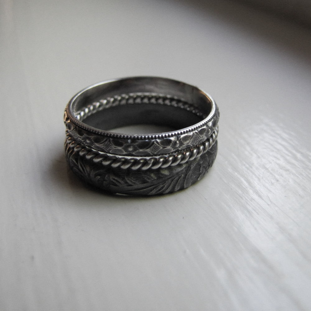 Rustic oxidized pattern stack rings