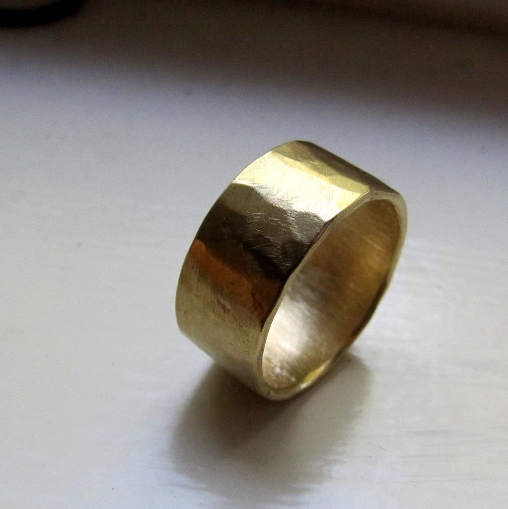 Mens Wedding Band 18k Gold Hammered