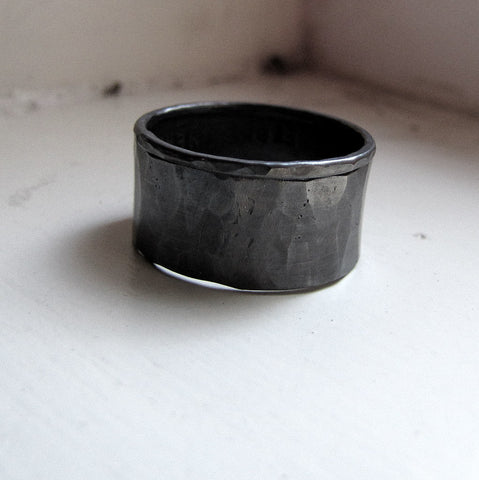Dark silver stacking rings for men