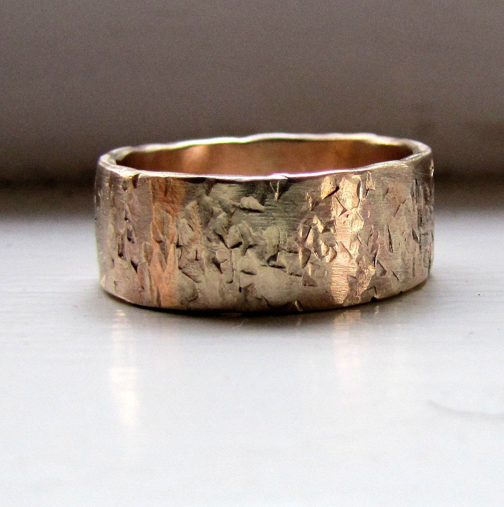 Mens wedding band 14k gold unique rustic distressed ring unique rings junglespirit Choice Image